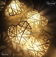 New Solar Power LED White Hearts Rattan Cane Fairy Light 8 Meters Outdoor Lights