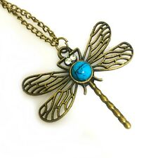 Dragonfly Pendant Necklace Antique Gold Bronze Insect Fly Blue marble Stone