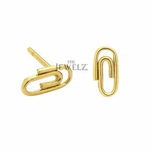 14K Solid Plain Gold 10 mm Small Paper clip Studs Women's Handmade Fine Jewelry