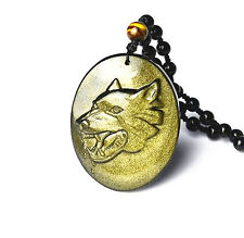 natural Gold Obsidian stone Hand carved  Wolf pendants (House Stark of Winterfe)