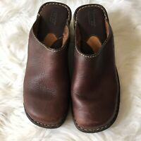 Born Women's 8 Brown Leather Clogs Mules Slip On Casual Career Shoes Wedge