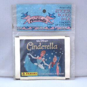 Rare sealed Vintage 90's Disney Cinderella Panini Sticker Booster pack 30 pieces