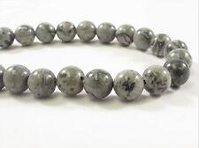 8 mm Smooth Round Grey Lepord Skin Jasper Semi Precious Stone Beads (#402)