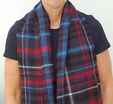 Marks and Spencer  Ladies Womens Wool Blend Scarf Navy Check 66 X 15 inch New