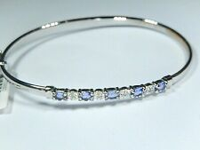"1.25 Carat Natural Tanzanite & Diamond 10k White Gold Bangle 7"" Womens Bracelet"