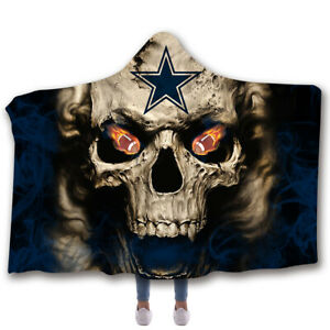 Dallas Cowboys Wearable Blanket Sherpa Fleece Hooded Blanket Warm Throw Blanket