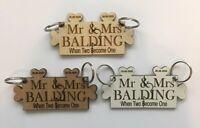 2X Personalised Wedding Day Gift Jigsaw Puzzle Key Rings Anniversary Birthday