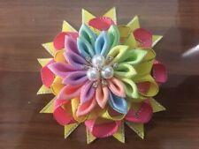 "12 BLESSING Girl 3.5"" Shine Bird's Nest Hair Bow Clip Rhinestone Rainbow Flower"