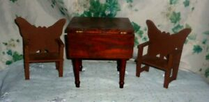 """OOAK!HANDMADE VINTAGE WOOD DROPLEAF TABLE W/2 BUTTERFLY CHAIRS-18"""" TO 22"""" DOLLS-"""