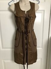 Anthropologie Tracy Reese Brown Faux Leather Lace Up Day Sleeveless Dress Xs 0