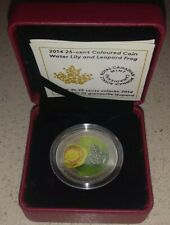 2014 Canada 25 Cents Flower & Fauna Water Lily & Leopard Frog Coin COA #7564