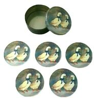 Winter Geese Coasters 5 Pieces Round Metal Tin Storage Container Holder 1980s