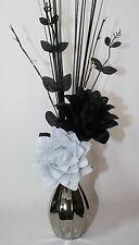 Artificial Flowers -Black & White Silk Dragon Flower Arrangement in Silver Vase.