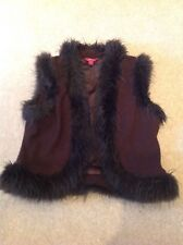 Monsoon Size 12 Faux Fur And Wool Waistcoat, Warm, Festival, boho hippy chic