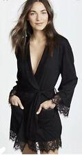 Free People Intimately Valentine Black Lace Jersey Short Robe PXS NEW