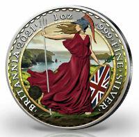 2021 1oz .999 £2 Silver Britannia  Colorised Silver Coin