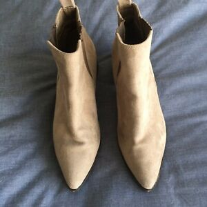 Ladies Taupe Suede Chelsea Ankle Boot Size: 10 (or EU41)