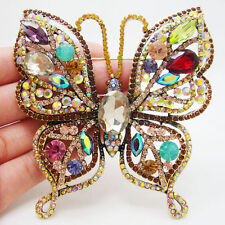 Luxurious Butterfly Insect Gold-plated Brooch Pin Colorful Rhinestone Crystal