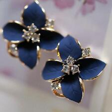 Fashion Women Elegant Blue Flower Charm Crystal Ear Stud Earrings Clip-On High C
