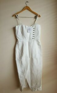 Misha Collection Pasquale Strapless Midi Dress Milk Ivory White Size 12 AU 8 US
