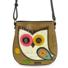 New Chala Deluxe Messenger Crossbody Bag Vegan Leather Canvas OWL Brown gift