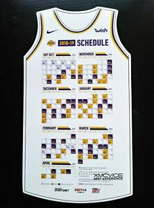 NEW AUTHENTIC LOS ANGELES LAKERS 2018-2019 SEASON SCHEDULE MAGNET