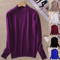 Women Knitted Wool Pullover Half High Neck Solid Cashmere Sweater Jumper Outdoor