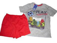 NEU Lupilu Shorty / kurzer Schlafanzug Gr. 98 / 104 grau-rot Fußball Motiv !!