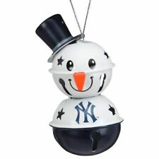 New York Yankees 2 Tier Snowman Bell Ornament Christmas Tree Holiday Logo NEW