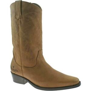 Wrangler Texas Hi Mens Leather Calf Length Cowboy Boots Brown UK 11