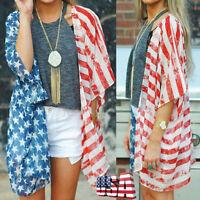 Women Patriotic Short Sleeve American Flag Blouse Casual Tops T-Shirt kimono US