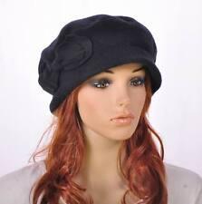 M142 Black Warm Wool & Acrylic Women's Winter Hat Beanie Cloche Cap Cute Bow
