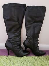 Dune 'Gen' knee high black leather boots size 5 - stiletto, pointy, metal, BNWT
