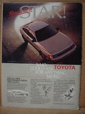 1985 Toyota Celica Car Ad 1986 Model Vintage Print Ad 142