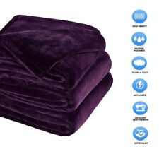 """Sonoro Kate Fleece Blanket Soft Warm Twin Size 90"""" x 65"""" Inches Purple Fluffy"""