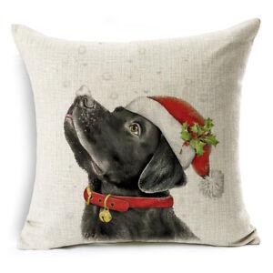 Xmas Dog Cotton Linen Pillow Case Sofa Cushion Cover Throw FOR Home Decor Gift18