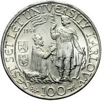 Tschechoslowakei - 100 Korun 1948 - Karls-Universität - Silber - Stempelglanz