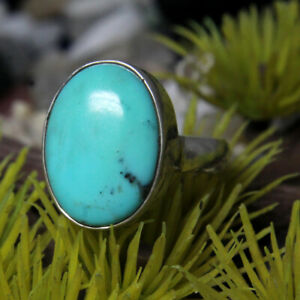 925 Sterling Silver Natural Turqioise Oval Gemstone Designer Men's Ring SR-157