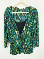 Choices Women's Plus Size 1X Slinky Top Shirt Knit Green Blue Black Stretchy