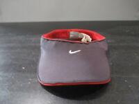 VINTAGE Nike Visor Hat Cap Adult One Size Black Red Swoosh Logo Mens 90s