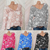 Womens Boho Floral Long Sleeve Casual V Neck Tops Loose Blouse T-Shirt Plus Size