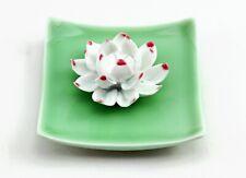 Lotus In Square Plate Incense Burner Holder Ceramic Plate Incense Light Green