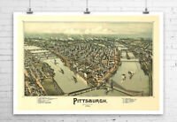 Pittsburgh Pennsylvania 1902 City Map Fine Art Giclee Print Canvas or Paper