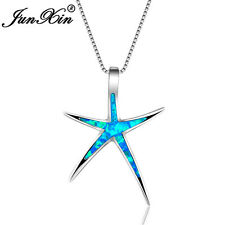 Starfish Blue Fire Opal Ocean Theme Pendant Necklace 925 Silver Wedding Jewelry