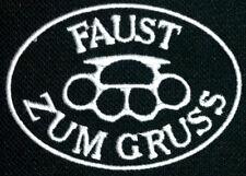 FzG - Faust zum Gruß  Schlagring Patch -  Aufnäher Biker Kutte Streetfighter