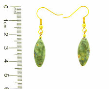 GEMSTONE DROP EARRING, OLIVE GREEN RHYOLITE BEAD ON A GOLD PLATED EARWIRE