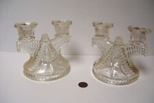 Pair of Glass Double Candle Holders  Clear Pressed Vintage