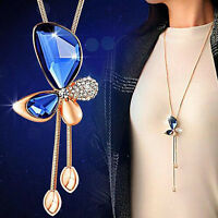 Crystal Butterfly Tassel Pendant Statement Women LONG Chain Necklace Jewelry YK