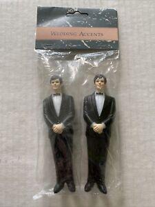 "Gay Same Sex Groom and Groom 4.25"" Wedding Cake Topper Black Tux New Sealed"