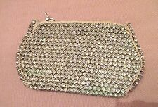 antique ornate very shiny heavy crystal linen clutch purse evening bag wristlet
